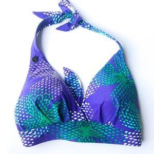 Lole swimsuit halter bikini top purple and green